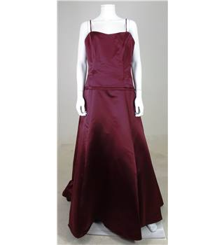 Watters & Watters Size 14 Deep Plum Strapless Bridesmaids Dress
