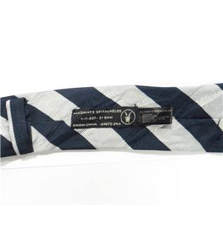 AllSaints Navy Blue With Silver Blazer Striped Silk Tie