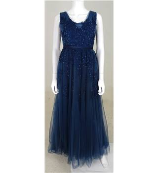 Unbranded Size S Smoky Blue Lace and Beaded Net Dress