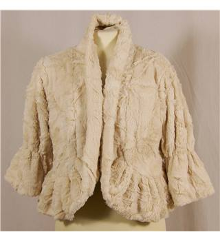 BNWT John Lewis Size S Evening Jacket in Cream polyester Fur Fabric