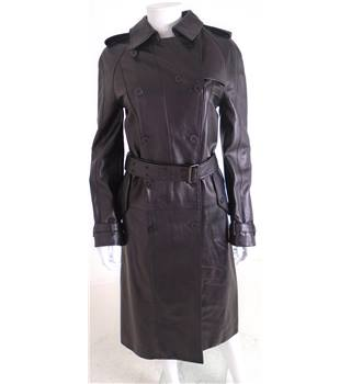 Burberry 100% Leather Size 8 Black Long Belted Trench Coat