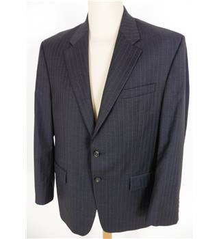 "Ralph Lauren Size: Large, 42"" chest, tailrd fit Gunship Grey With Silver Pinstripe Stylish Wool Designer Single Breasted Jacket"