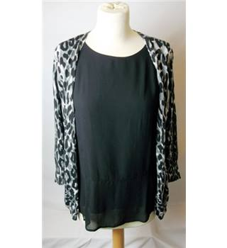 Next Size 10 Black Top with Leopard Cardigan