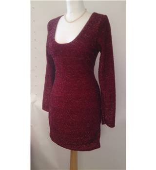 Red glitter Xmas / party / evening bodycon dress - Size Medium