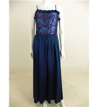 Vintage 1980s Ingrid Shaw Size 8 Navy Blue Dress With Sky Blue And Magenta Flower Bodice