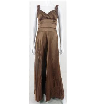 OC By OC Size 4 Brown Satin Beaded Evening Dress