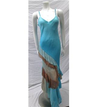 Jeff Gallano Size 12 Blue Ruffle Dress Jeff Gallano - Size: 12 - Multi-coloured