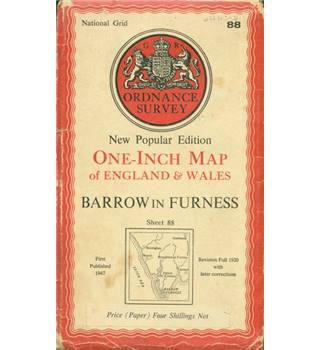 Ordnance Survey Map One Inch Map.  Sheet 88 Barrow in Furness