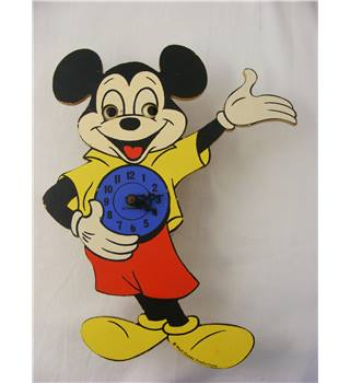 Vintage Mickey Mouse Moving Eye Clock Western Germany