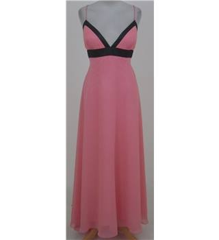 Bernshaw: Size 16: Pink with black trim evening gown