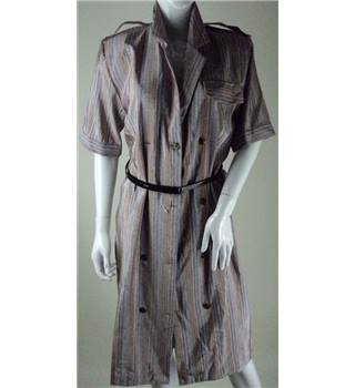 Vintage St Michael size: 10 beige, blue and apricot striped shirt dress