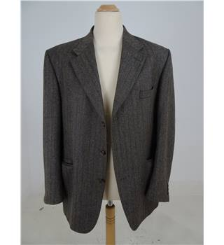 Crombie Size 44r  Brown Herringbone Wool Jacket