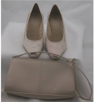 M&S, size 4 cream court shoes with matching handbag
