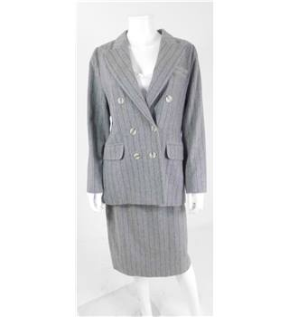 The Powerhouse Woman Collection: Vintage 1980s Yves Saint Laurent Variation Size 12 Grey Pinstripe Skirt Suit
