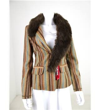 BNWT Ringspun Size S Multi Coloured Woven Striped Jacket With Fur Trim
