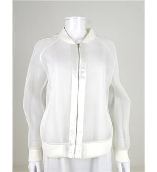 On Perle De Vous Size M White Sheer Netted Bomber Jacket
