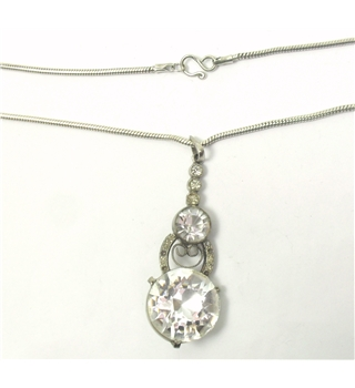 Silver chain & clear crystal drop pendant - 925 stamp