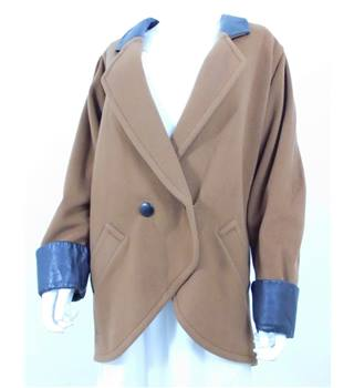 Autumn Crush Collection:  Vintage 1980s Cache D'or Size 22 Coffee Brown Wool/Cashmere Blend Coat With Black Collar/Cuffs