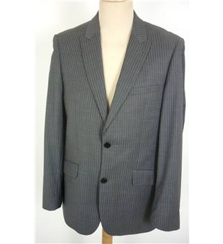 "French Connection Size: M, 38"" chest, tailored fit Grey With Fine Blue Pinstripe Stylish Wool Blend Single Breasted Jacket."