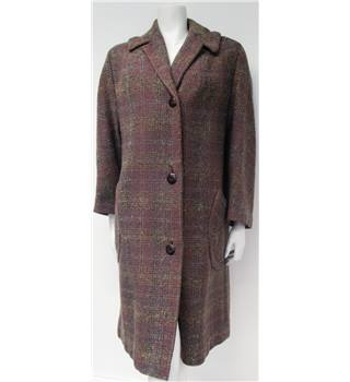 Vintage 1960s Size M Multi-Coloured Wool Coat