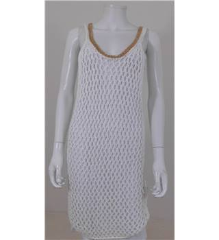 Just Cavalli By Roberto Cavalli Size S White Crochet Dress With Gold Chain Neck