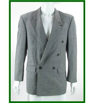 Pierre Cardin - Size: 38R - Black / Grey - Wool / Silk / Other Fibres Mix - Double breasted suit jacket