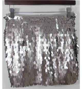 BNWT Goldie London Silver Sequin Mini Skirt Size XS