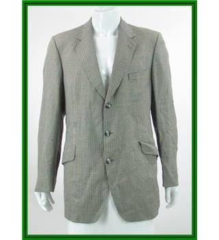 VINTAGE - Magee - Size: 42L - Pale Khaki / Green / Black / Blue / Red - 100% Wool - Single breasted suit jacket