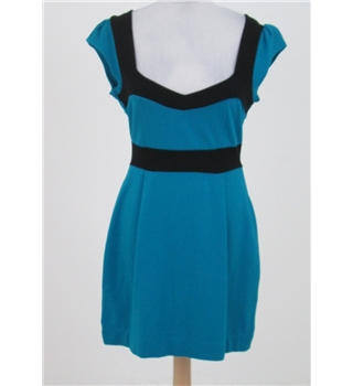 French Connection - Size: M turquoise and black jersey dress