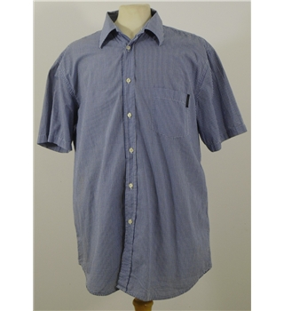 "Valentino size 4XL chest: 56"" blue / white check short sleeved shirt"