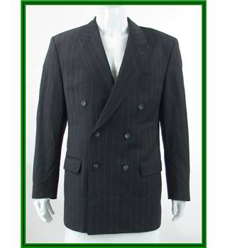 Daks - Size: 44L - Charcoal Grey - 100% Wool - Double breasted suit jacket