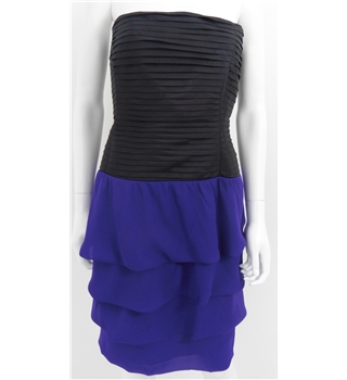 *Reiss Size 12 Black and Purple Strapless Ruffle Dress