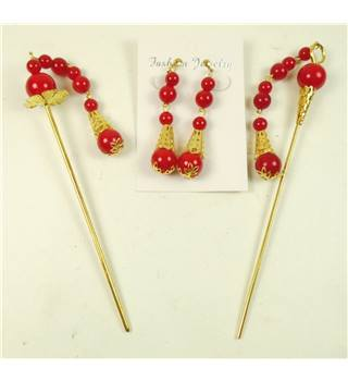 Chinese traditional red & gilt hair sticks and clip on earrings