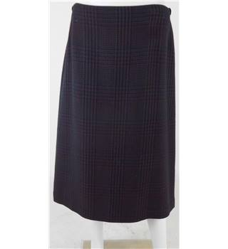 "Daks Burgundy / Navy Check Wool Tweed Knee-Length Skirt No Size but Waistband Measures 34"" / Length 29"""