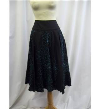 Monsoon - Size: 8 - Black and Green - Sequinned - Calf length skirt