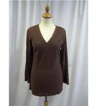 East - Size: 10 - Brown - Sequinned - Tunic Top