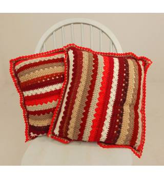 Rose Red Colour Block Striped Crochet Pair Of Cushions