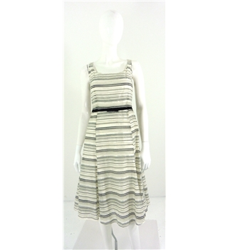 BNWT Kaliko Size 8 Ivory and Black Metallic Summer Dress