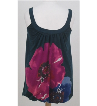 Pepper Tree, size S/ M dark green and pink floral smock style vest top