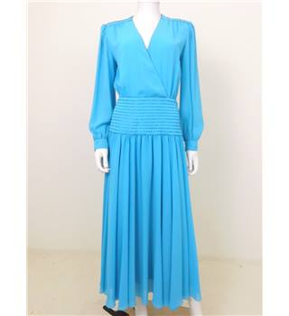 Floor Length Wonder Collection: Vintage 1980s Size 8 Sky Blue Occasion Dress