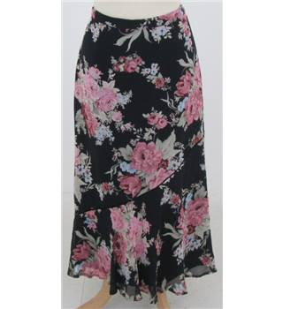 Laura Ashley size 10 navy & pink floral skirt