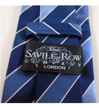 The Savile Row Company Blue Striped Silk Tie
