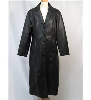 Milan Leather - Size: 14 - Black - Long Leather coat
