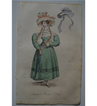 1829 The Lady's Magazine Fashion Engraving - Summer Recess Dress