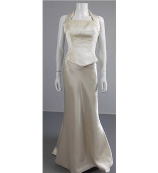 Two Piece D'Zage Size 14 Champagne Coloured Wedding Dress