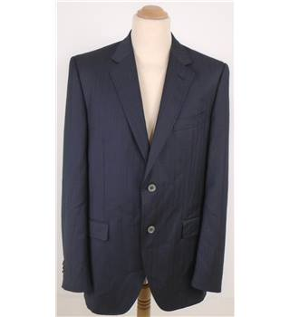 Dolce & Gabbana L Deep Black Faint Blue Striped Blazer