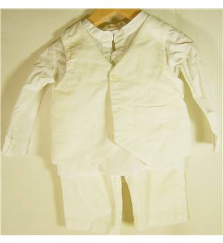 BHS 6-9 months White Trousers, Shirt and Waistcoat Set
