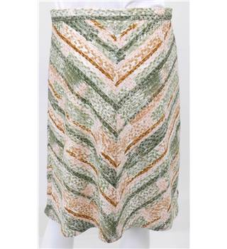 Skirts of the Harvest Collection: Vintage Circa 1980s Green, Pink and Cream A-Line Skirt