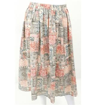 Skirts of the Harvest Collection: Vintage Handmade One Size Pink and Green Elasticated Skirt