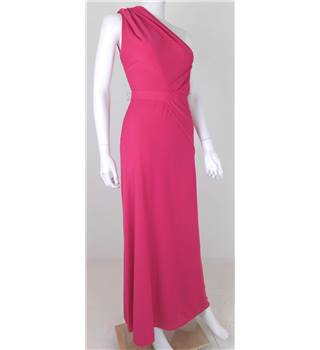 Floor Length Wonder Collection: Frank Usher Size 6 Hot Pink Vintage, Asymmetrical Dress